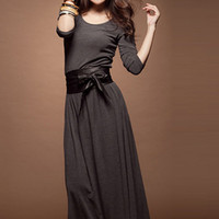 Korean Simple Gray Side Bowtie Cotton Dresses : Wholesaleclothing4u.com