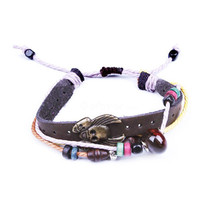 Vintage Multi-Strand Skull&Wooden Beads&Agate Leather Bracelet at Online Cheap Vintage Jewelry Store Gofavor