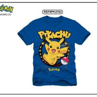 Pokemon Pikachu Ring Adult T-Shirt Blue