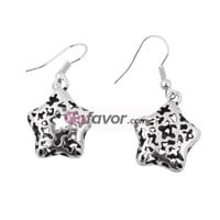 Vintage Silver Tone Filigree Engraved Star Dangle Earrings at Online Jewelry Store Gofavor