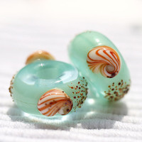 Mint green Lampwork handmade large hole beads fits Pandora by MayaHoney