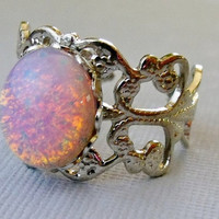 Pink Opal Ring Silver Adjustable Glass Stone by pinkingedgedesigns