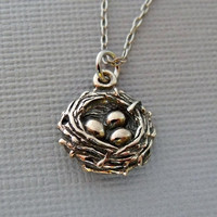 READY TO SHIP / Sterling Silver Bird Nest by pinkingedgedesigns