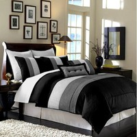 Chezmoi Collection 8-Piece Luxury Stripe Duvet Cover Set, Queen, Black, White and Grey