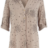 Taupe bird print jersey shirt - Fashion Tops  - Clothing  - Dorothy Perkins