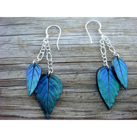 Blue and Green leaf earrings  Polymer Clay  Blue and by JustClayin