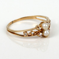 Buy Attractive antique diamond & pearl ring, Sold Rings Sydney - KalmarAntiques
