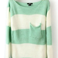 # Free Shipping # Blue Stripe Women Knitting Sweater S/M/L VG30123bl