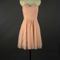 Sweetheart Bridesmaid Dress, A-line Sweetheart Mini Chiffon Bridesmaid Dress