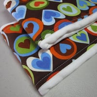 SALE - Pop Hearts Blueberry Prefold Burp Cloth Diapers - Amy Schimler's Pop Hearts - Set of Two (6-ply) - Baby Boy