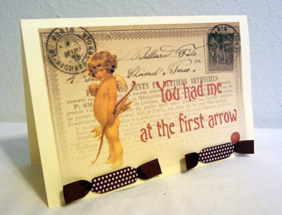 Handmade Valentine's Day Card  Vintage Style Cupid by Istriadesign