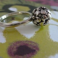 Sterling Silver Flower Spring Bulb Ring