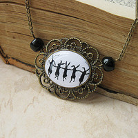 Dancing Rabbits Silhouette Necklace by smafactory