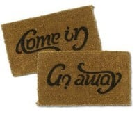 Come In/Go Away Ambigram Coir Doormat