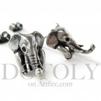 Miniature Elephant Realistic Animal Stud Earrings in Silver
