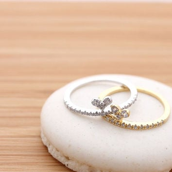 tiny HEART with crystals ring, 2 colors | girlsluv.it
