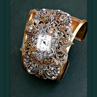 Timeless Elegance  Victorian Floral Cuff Watch in by LeBoudoirNoir