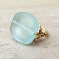 Aqua Sea Glass Ring:  Brass Wire Wrapped Beach Jewelry, Mint Green Large Freeform Stone Ring, Size 6.5