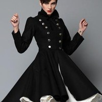 Black Coat - Olga Double-Breasted Military Coat by | UsTrendy