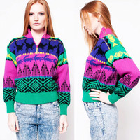 Neon Crocodile and Kangaroo Sweater
