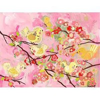 Cherry Blossom Birdies Pink & Yellow Stretched Canvas Wall Art