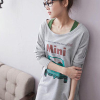 Hot Sale Mini Car Prints Girls Long Tee Gray : Wholesaleclothing4u.com