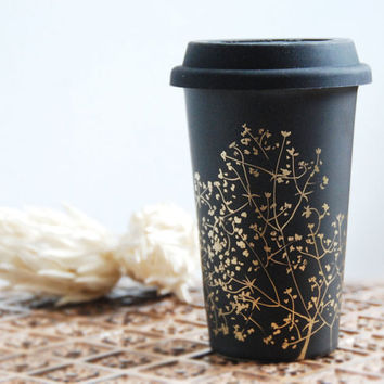 Hand Painted Ceramic EcoFriendly Travel Mug Gold by yevgenia