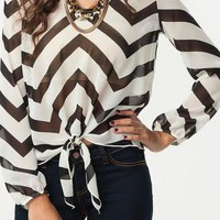 Black &amp; White Chiffon Chevron Blouse
