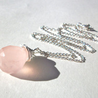 Rose quartz briolette necklace, large silver wire wrapped gemstone briolette jewellery