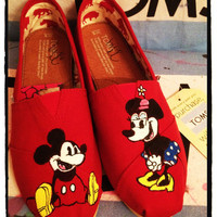 Mickey and Minnie Custom Toms Shoes