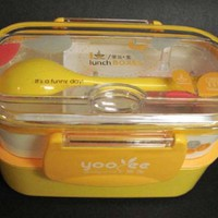 Two Tiered Bento Lunchbox with Spoon, Yellow