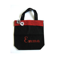 Custom Name Black Red Girls Canvas Tote Dance Bag