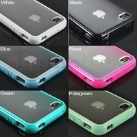 Cool TPU Bumper Case With Clear Back for Apple iPhone 4GS 4S 4G 4(6 Colors)