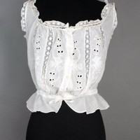 1920's White Cotton Embroidered Camisole Blouse - M VINTAGE ANTIQUE LINGERIE & UNDERWEAR :