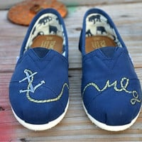 Hand Painted Toms Shoes  Navy Blue Anchor and by solemateshoes