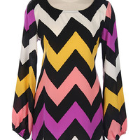 Bright Chevron Shift Dress