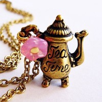 Vintage Teapot Pink Flower Charm Necklace from MaruMaru