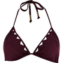 Dark red triangle cut out halter bikini top
