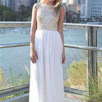 White Sleeveless Maxi Dress with Sequin Bodice