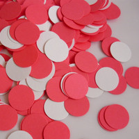 500 confetti cardstock circles in hot pink and white