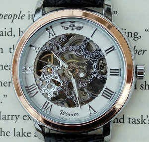 Silver and Rose Mechanical Wind-Up Wrist Watch | Wicked Clothes