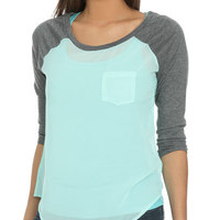 Chiffon Blocked Raglan Tee | Shop Tops at Wet Seal