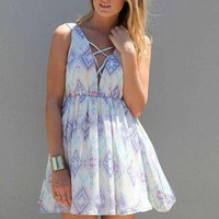 Printed Sleeveless Mini Dress with Lattice Detail