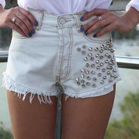 Denim Bleach Mini Shorts with Spike Embellishment