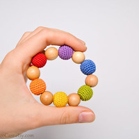 Crochet Teething Toy Wooden Teething Ring wood by KangarooCare