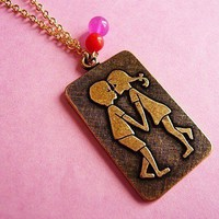 Vintage Kitsch Kissing Kids 70's Pendant Necklace from MaruMaru