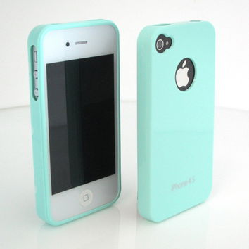 GNJ New Mint High Gloss Hard back Silicone case cover+Screen for iPhone 4 4G 4S