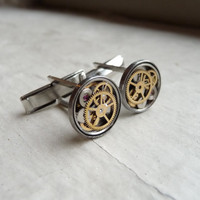 Clockwork Cufflinks Model Nine Unique Soldered by amechanicalmind