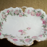 Dishes, Serving Dish, Bowl, Tray, Romantic, Roses, Pink, White, Gold, Antique, Haviland, Limoges, Gift, Valentines Day, TKSPRINGTHINGS