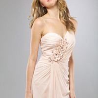 Cameo Gathered Chiffon Floral Sweetheart One Shoulder Prom Dress - Unique Vintage - Cocktail, Evening  Pinup Dresses